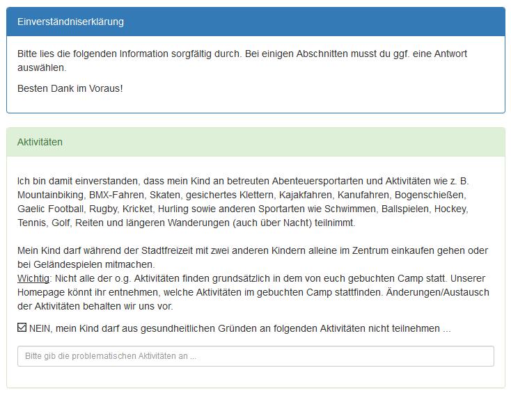 Screenshot von der Einverständniserklärung